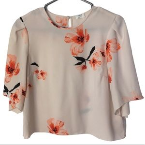 WILFRED Cambrai Blush Floral Bell Sleeve Blouse XS